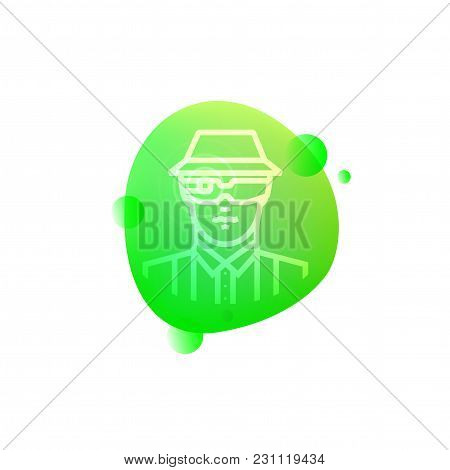 Vector Illustration Of Hi-tech Smart Farmer Icon Isolated On White Background.