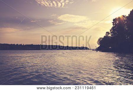 Beautiful Summer Season Specific Photograph. Summer Archipelago With Beautiful Sunlights And Waterli