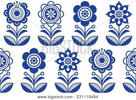 Folk Art Flowers, Seamless Vector Floral Pattern, Scandinavian Navy Blue Repetitive Design, Nordic O