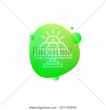 Vector Illustration Of Hi-tech Smart Solar Panel Icon Isolated On White Background.