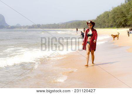 Woman Sexy And Bikini Relax Daylight On Beach At Bang Beot Beach, Chumphon Province Thailand