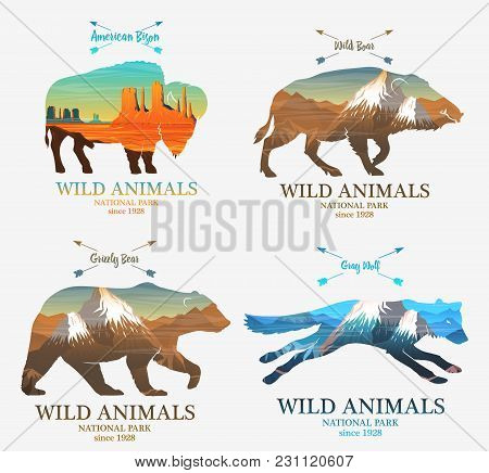 Mountains And Boar, Bear, Fox, Buffalo Silhouette Wild Animal. Multiple Or Double Exposure. Old Labe