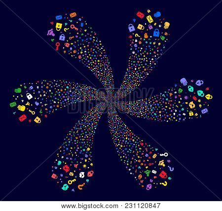 Attractive Secrecy Symbols Curl Motion On A Dark Background. Vector Abstraction. Impressive Spiral O