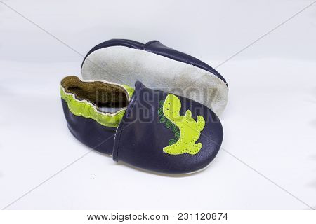 First Walkers Soft Leather Baby Shoes With Dinosaurs