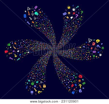 Colorful Secrecy Symbols Cyclonic Flower With Six Petals On A Dark Background. Vector Abstraction. P