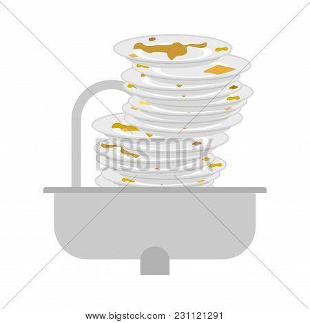 Kitchen Sink And Dirty Dishes. Unclean Tableware. Vector Illustration