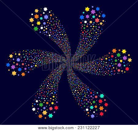 Multicolored Six Pointed Star Centrifugal Flower Cluster On A Dark Background. Vector Abstraction. P