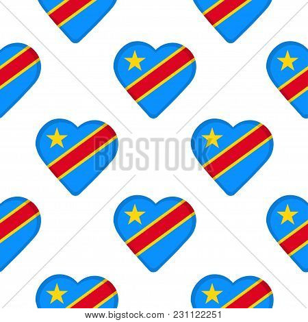 Seamless Pattern From The Hearts With Flag Of  The Democratic Republic Of The Congo. Vector Illustra