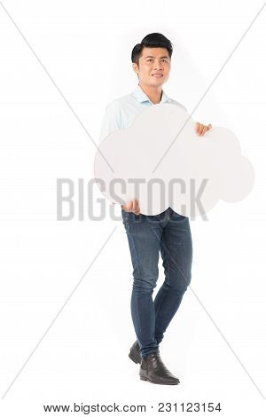 Young Asian Man Holding Blank Thought Cloud Isolated On White
