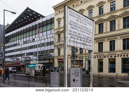 Berlin, Germany - April 15, 2017: View Of The Famous Checkpoint Charlie On April 15, 2017 In Berlin,