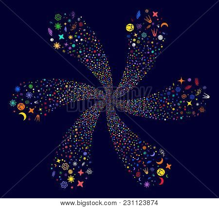 Colorful Space Symbols Swirl Twist On A Dark Background. Vector Abstraction. Impressive Whirlpool De