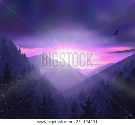 Nature Background Of Mountains Panorama. Evening In Wild Valley.