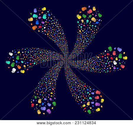 Attractive Stop Hand Curl Flower With Six Petals On A Dark Background. Vector Abstraction. Psychedel