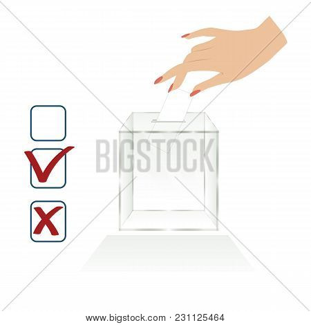 Empty Transparent Ballot Box Voting Woman's Hand Throws The Election Form For Voting Icons Isolated