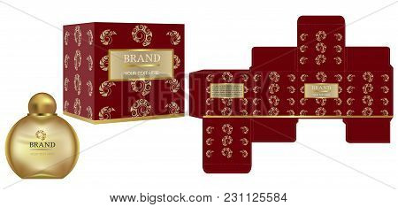 Packaging Design, Label On Cosmetic Container With Red And Gold Luxury Box Template And Mockup Box,