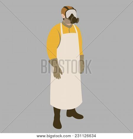 Man In Protective Clothing Vector Illustration Flat Style