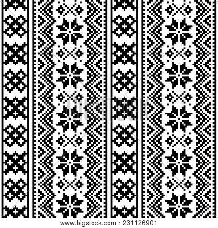 Lapland Seamless Vector Pattern, Scandianvian Folk Art Design, Sami Cross Stitch Monochrome Backgrou