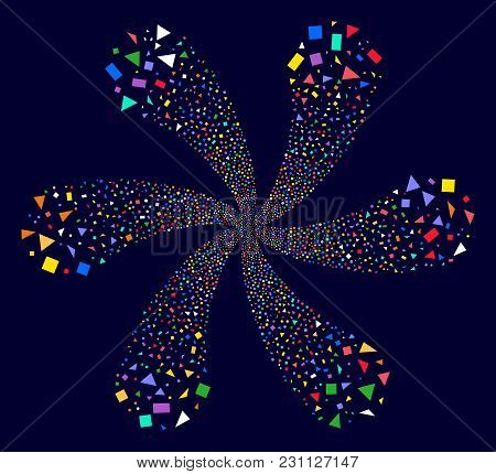 Multi Colored Triangles And Rectangles Centrifugal Motion On A Dark Background. Vector Abstraction.