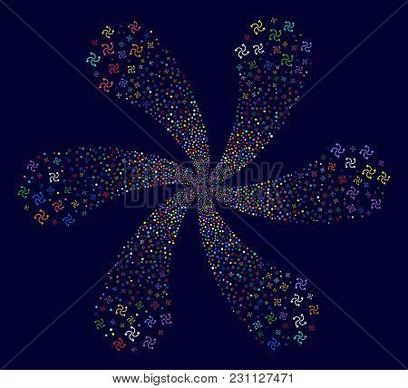 Multicolored Turbine Rotation Curl Bang On A Dark Background. Vector Abstraction. Psychedelic Twist