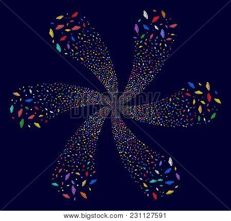 Bright Ufo Cyclonic Spin On A Dark Background. Vector Abstraction. Suggestive Cluster Composed From
