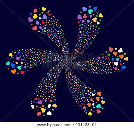 Multi Colored Valentine Heart Exploding Flower Shape On A Dark Background. Vector Abstraction. Impre