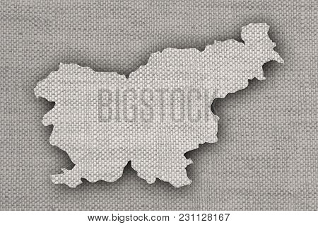 Colorful And Crisp Image Of Map Of Slovenia On Old Linen