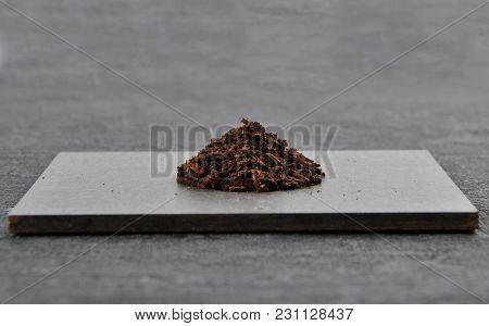 Colorful And Crisp Image Of Vanilla On Dark Slate