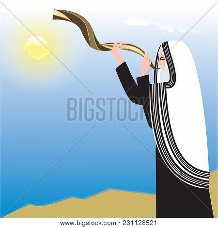Man Holding Shofar Background Sky Sun Art Abstract Creative Modern Illustration Vector Rosh Hashanah
