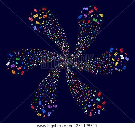 Attractive Video Card Gpu Cyclonic Fireworks On A Dark Background. Vector Abstraction. Suggestive Sp