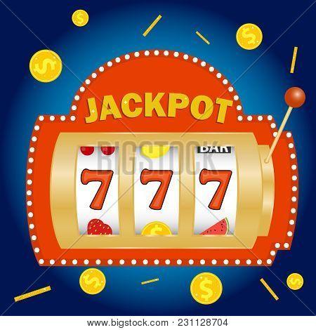 Slot Machine, Jackpot In The Slot Machine. Win On The Slot Machine. Flat Design, Vector Illustration