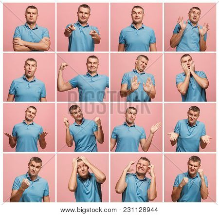 The Collage Of Different Human Facial Expressions, Emotions And Feelings Of Young Man. Happy Busines