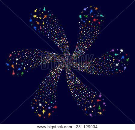 Colorful Wand Magic Tool Rotation Flower Cluster On A Dark Background. Vector Abstraction. Suggestiv