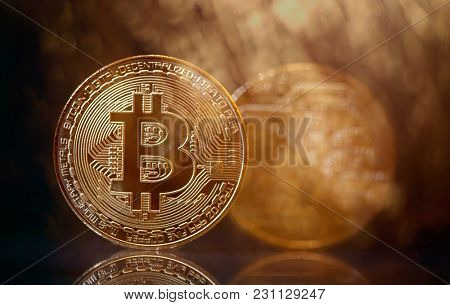 Golden Bitcoin Cryptocurrency. New Virtual money concept.