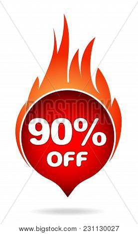90 Percent Off Red Blazing Speech Bubble, Sticker, Label Or Icon With Shadow And Flame For Your Desi