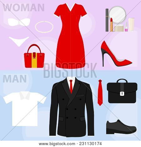 The Concept Of Women's And Men's Clothing. Two Horizontal Banners With Women's And Men's Clothing.