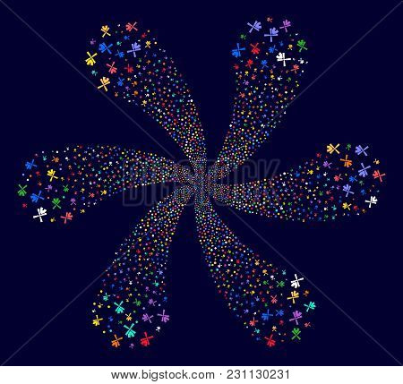 Multicolored Wind Mill Exploding Flower Cluster On A Dark Background. Vector Abstraction. Impressive