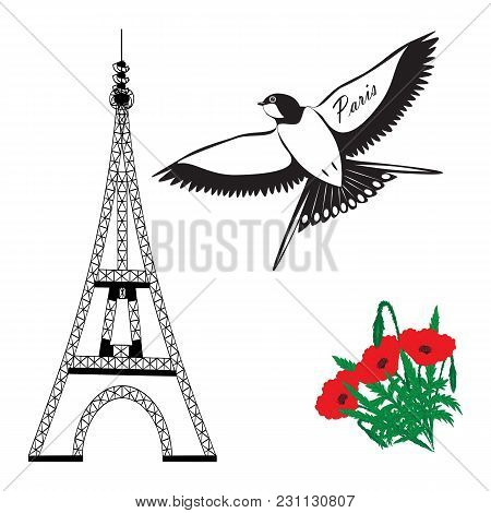Eiffel Tower Swallow Red Poppies Inscription Paris White Background Vector Art Abstract Creative Mod