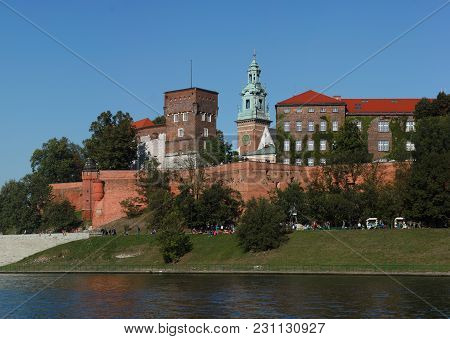 The Wawel Royal Castle In Krakow, Poland. A View Of The Defensive Walls And The Architectural Comple