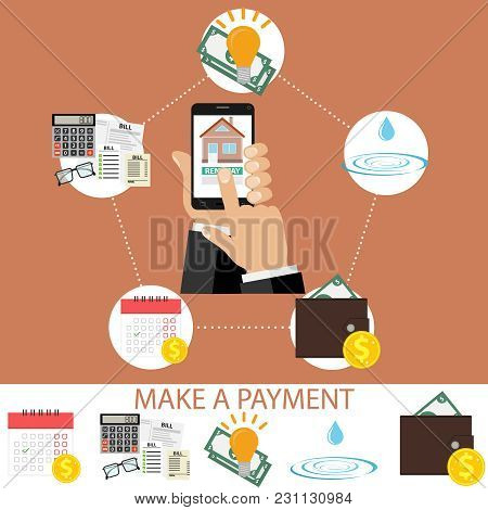 Payment For Communal Services. The Concept Of Paying Money. Payment Of Bills. Flat Design, Vector Il