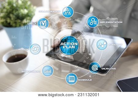 Action Plan On The Virtual Screen. Planning Concept. Business Strategy