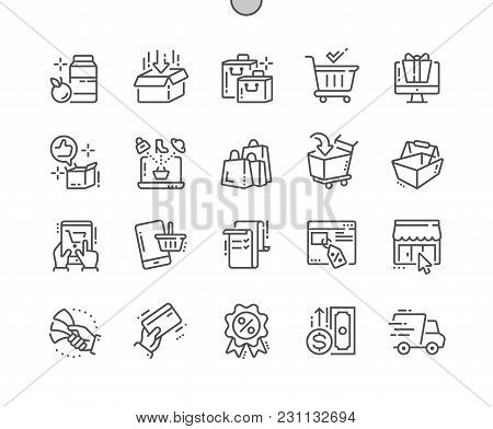 Shopping Well-crafted Pixel Perfect Vector Thin Line Icons 30 2x Grid For Web Graphics And Apps. Sim