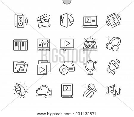 Audio Video Well-crafted Pixel Perfect Vector Thin Line Icons 30 2x Grid For Web Graphics And Apps.