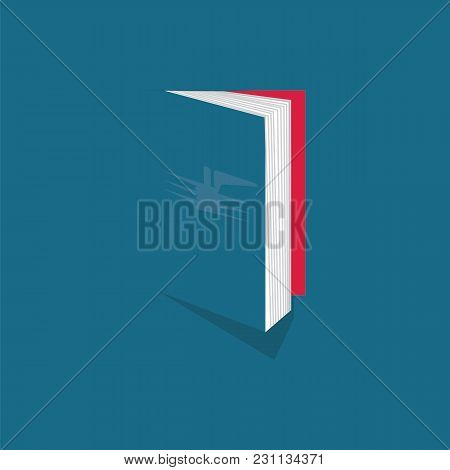 Book Logo Art Abstract Graphic Design Element Isolated Modern Vector Creative Blue Background