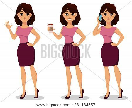 Beautiful Business Woman Waving Hand, Holding Coffee And Talking By Phone, Set. Businesswoman In Cas