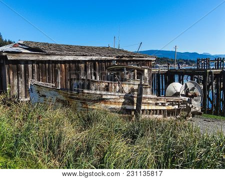 An Old Wooden Fishing Boat In Nova Scotia Canada