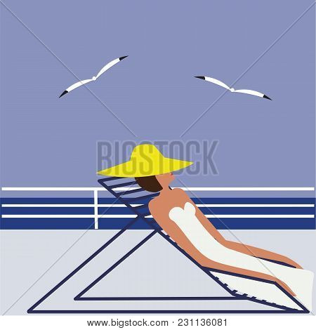 Woman In Yellow Hat In A Deck Chair On The Deck In A Sea Gull Abstract Art Illustration Minimalism F