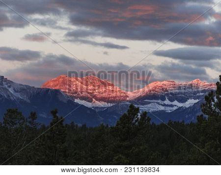 Canadian Wilderness With Rocky Mountains At Sunset As Seen In Banff National Park Alberta Canada