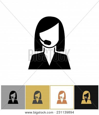 Operator Icon. Call Center Secretary, Sales Agent Or Telephone Assistant Pictogram On Gold And White