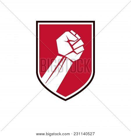 Nonconformist Conceptual Emblem, Vector Red Clenched Fist Raised Up.