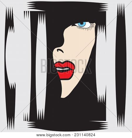 Woman's Face In Profile Blue Eyes Red Lips Abstract Vector Illustration Isolated Black - White Backg